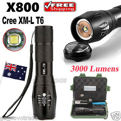 G700 X800 Zoomable XML T6 LED Tactical Flashlight 18650 Battery Bright Lamp UK