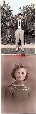 Old coloured postcard and photo: young man in blazer, young woman in knitted top