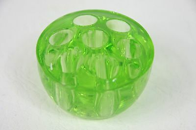 Small Art Deco Green Glass Flower Frog Graduated 6.5 cm diameter top, 5 cm base