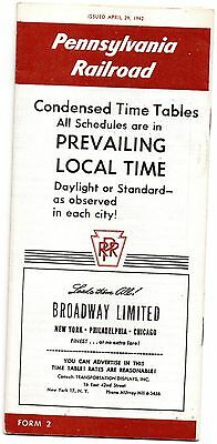 Pennsylvania Railroad - Early Timetable - April, 1962 - Excellent condition.