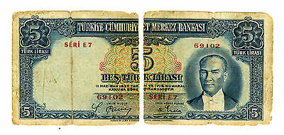 Turkey … P-127 … 5 Lirasi … L.1930(1938) … *Fair*