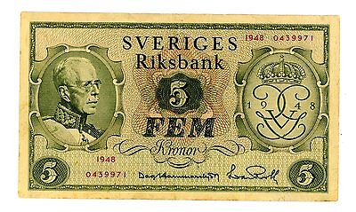 Sweden … P-41a … 5 Kronor … 1948 … *XF*