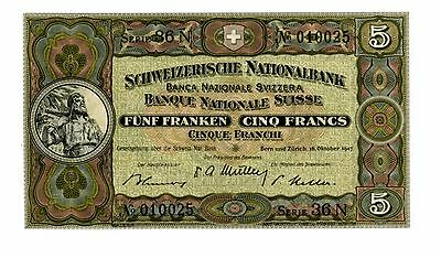 Switzerland … P-11m … 5 Francs… 1947 … *Gem UNC*