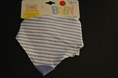 BABY DRIBBLE BIBS TEETHING BIB with RUBBER BITING SQUARE - TODDLER CHILD BLUE