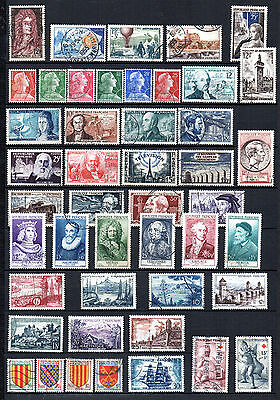 France//  46 Timbres Obliteres De 1955 Annee Complete