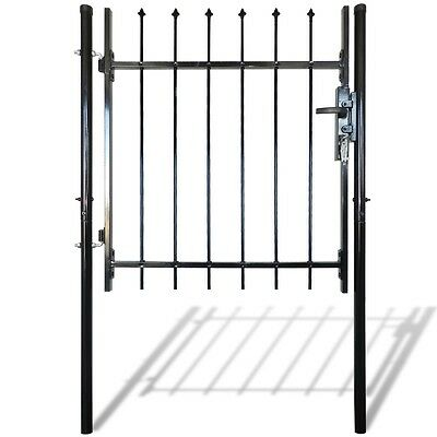 NEW Single Door Fence Gate with Spear Top 100 x 100 cm Powder-coated Steel Black