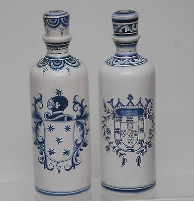 PAIR VINTAGE CONIMBRIGA Hand-Painted Signed_Blue + White Decanters w/ Stoppers