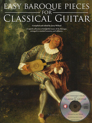 Easy Baroque Pieces for Classical Guitar TAB Sheet Music Book/CD J S Bach Handel