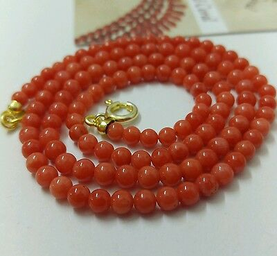 Natural italian Salmon-Red Coral necklace beads 4mm , 47 cms.