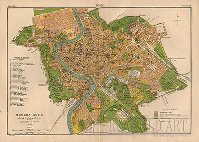 1884 Antique Map of Modern Rome from Encyclopedia Britannica