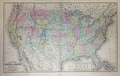 Mitchell 1886 Antique map of the United States