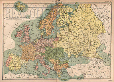 1884 Antique Map of Europe from Encyclopedia Britannica