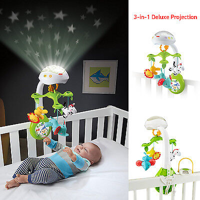Baby Mobile Projection Newborn Crib Musical Toy 3-in-1 Deluxe Moving Animal Star