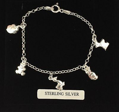 Sterling silver/925 hallmarked/animal/charm bracelet/child/girl/baby/boxed
