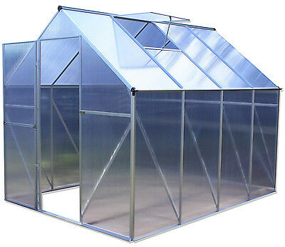 6'x8' Aluminium Polycarbonate Greenhouse With Hinged Door FREE Metal Foundation