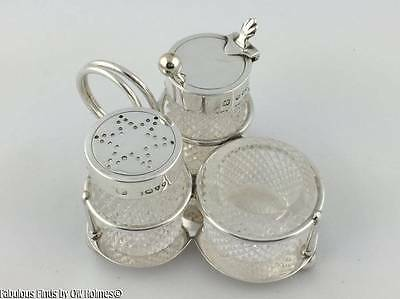 Antique HUKIN & HEATH English STERLING SILVER Breakfast CRUET Set