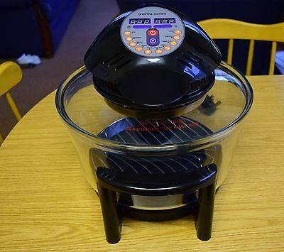 Andrew James 12 Litre Black 1400W Digital Halogen Oven Cooker With Hinged Lid