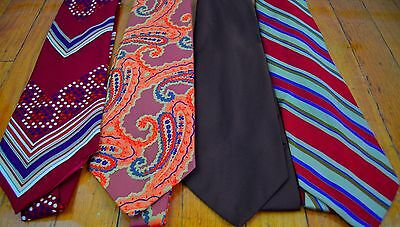 Lot of 4 Vintage 1970s Wide Neckties Disco Polyester Lot 5