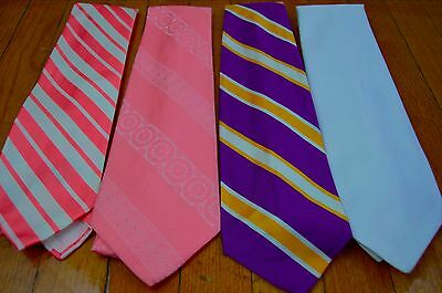 Lot of 4 Vintage 1970s Wide Neckties Disco Polyester Lot 3