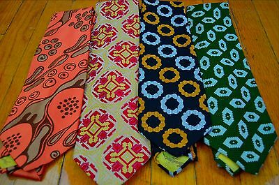 Lot of 4 Vintage 1970s Wide Neckties Disco Polyester Lot 2