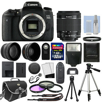 Canon EOS 760D Digital SLR Camera + 3 Lens: 18-55mm IS STM Lens + 32GB Bundle
