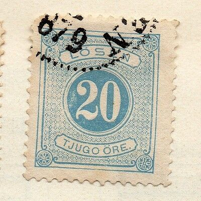 Sweden 1872 Early Issue Fine Used 20ore. Postage Due 123319