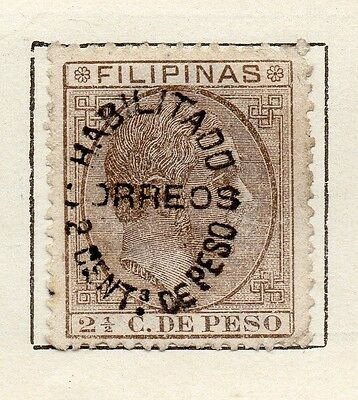 Philippine Islands 1880-90 Issue Fine Mint Hinged 2c. Surcharged Optd 123403
