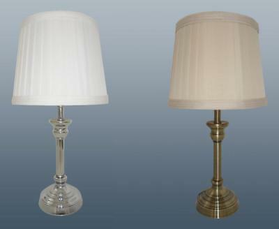 Classic Table Lamp Bedside Light Metal Base Pleated Cotton Shade Cream White