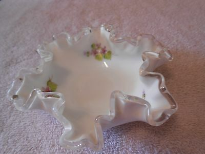 Vintage Fenton Silver Crest Bowl, Hand Painted and Artist Signed