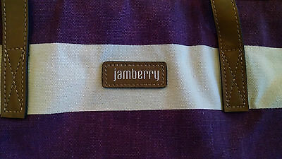 Jamberry RETIRED Stiped Plum and White Canvas Purse Tote Handbag