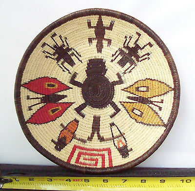 Wounaan Embera Panama Woven Polychrome Pictorial Basket Tray Insects & Reptiles