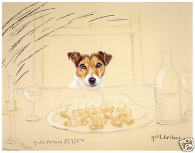 JACK RUSSELL TERRIER DOG ART LIMITED EDITION PRINT - Sausages on a Plate