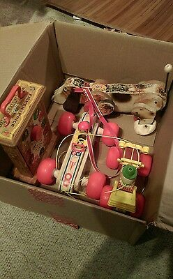 Vintage 1960's Fisher Price (4) Piece LOT. 3 Pull toys and 1 Musical Clock!