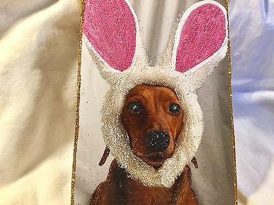 Dog with Rabbit Ears*Vintage Glittered Card Image*Glittered Easter Ornament
