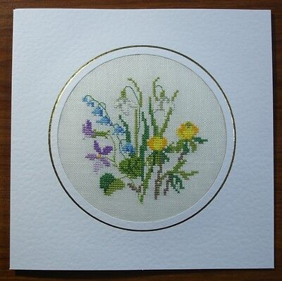 Completed Cross Stitch Card - Mixed Spring Flower Bouquet (very large)