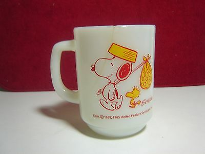 "Vintage ""CRACKED""  FIRE KING""SNOOPY COME HOME"" Woodstock Milk Glass Mug"