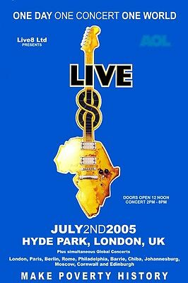 Live 8 2005 Live8 Box Office CONCERT POSTER  uk pink floyd