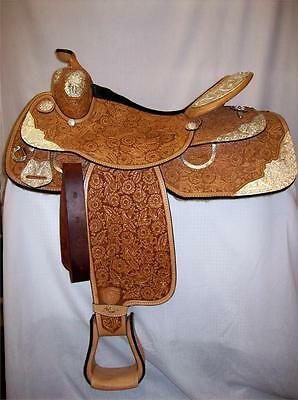 "Tex Tan 16"" #08-1586 AQHA Silver Elite Closeout Show Saddle Regular Quarter Bar"