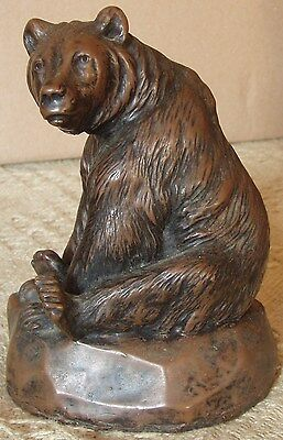 Resin Casting of Seated Bronze Bear By M.W.Pierce
