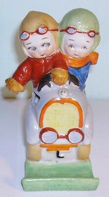 old  Beatrice Mallet porcelain Toothbrush Holder children in motor car motoring