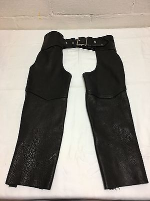 KERR Black Leather Motorcycle Chaps Size Medium Made in USA