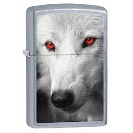 Zippo Wolf With Red Eyes Street Chrome Lighter - Brand new!