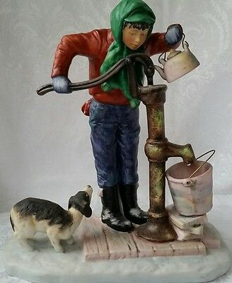 Norman Rockwell Four Seasons 1ST Edition Gorham Porcelain WINTER CHILLING CHORE