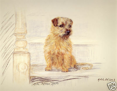 NORFOLK TERRIER DOG FINE ART LIMITED EDITION PRINT - Sitting on the Stairs