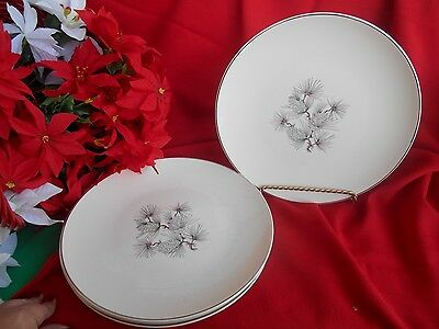 "4 Knowles High Sierra  Platinum Trim Made In Usa  10 1/4"" Dinner Plates"
