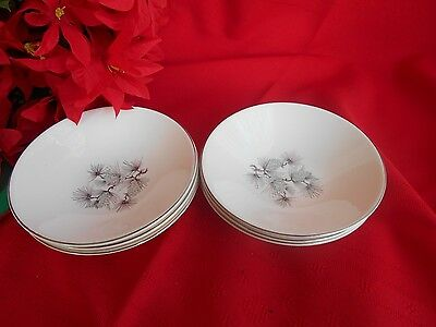 6 Knowles High Sierra  Platinum Trim Made In Usa  Berry Fruit Bowls