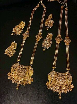 Gold Plated Indian Ethnic Necklace Earrings Set Bollywood Traditional Jewelry