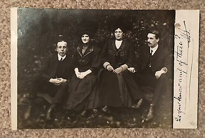Old RP Portrait Postcard Unknown Group Posted 1908 Dewsbury