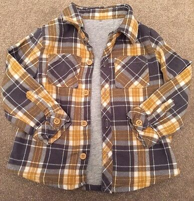 Baby Boys Checked Lined Shirt Ochre Mustard Grey White 9-12 Months