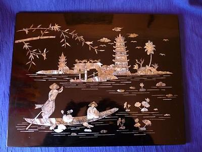 Chinese Lacquer & Shibayama Plaque, Late 20th C. Good condition.